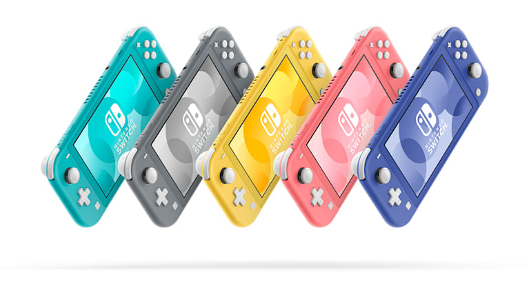 Image showing all available colours of the Nintendo Switch Lite console