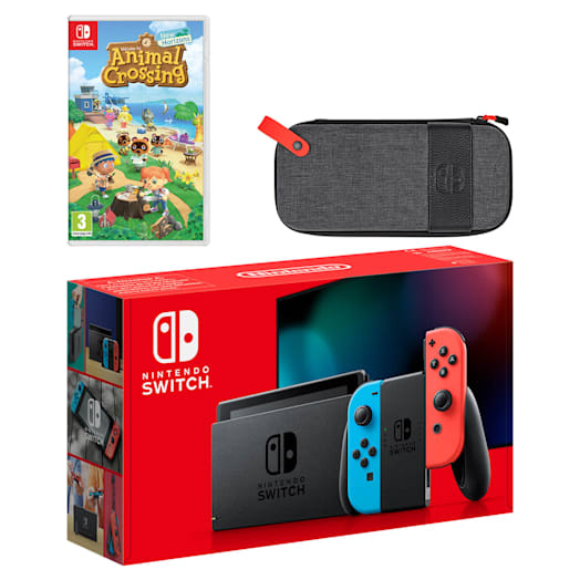 Nintendo Switch (Neon Blue/Neon Red) Animal Crossing: New Horizons Pack image 1