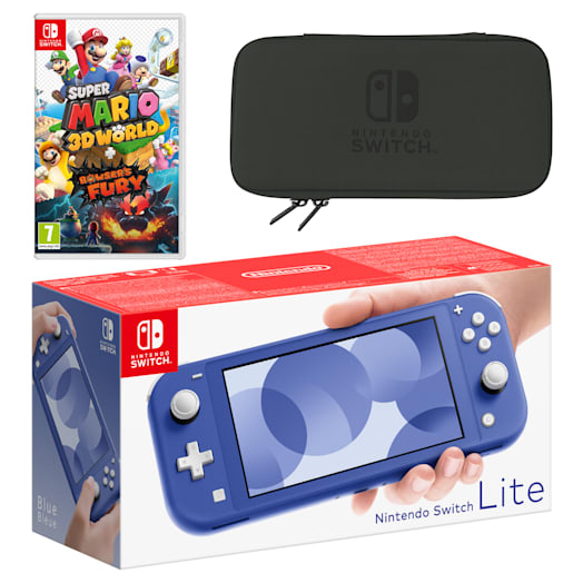 Nintendo Switch Lite (Blue) Super Mario 3D World + Bowser's Fury Pack