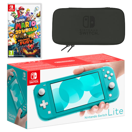 Nintendo Switch Lite (Turquoise) Super Mario 3D World + Bowser's Fury Pack