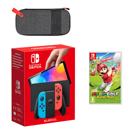 Nintendo Switch – OLED Model (Neon Blue/Neon Red) Mario Golf: Super Rush Pack