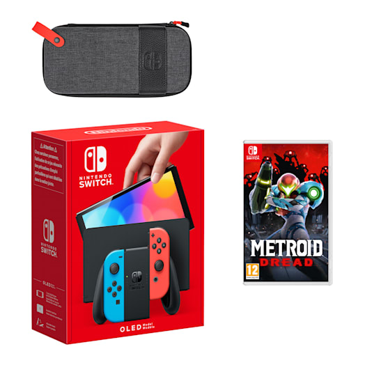 Nintendo Switch – OLED Model (Neon Blue/Neon Red) Metroid Dread Pack