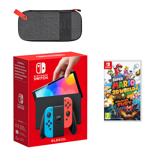 Nintendo Switch – OLED Model (Neon Blue/Neon Red) Super Mario 3D World + Bowser's Fury Pack