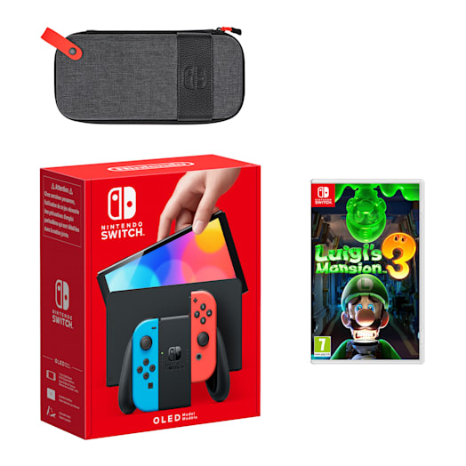 Nintendo Switch – OLED Model (Neon Blue/Neon Red) Luigi's Mansion 3 Pack