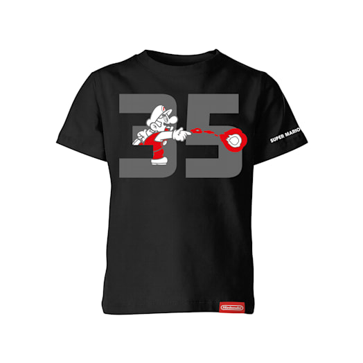 Fire Mario Black T-Shirt (Kids) - Super Mario Bros. 35th Anniversary image 1
