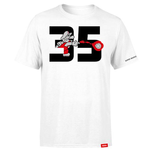 Fire Mario White T-Shirt (Adults) - Super Mario Bros. 35th Anniversary