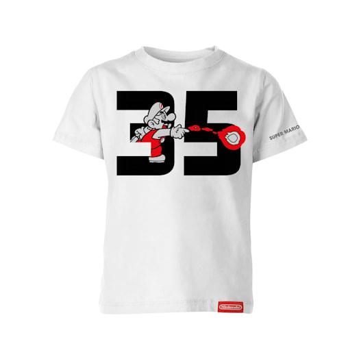 Fire Mario White T-Shirt (Kids) - Super Mario Bros. 35th Anniversary