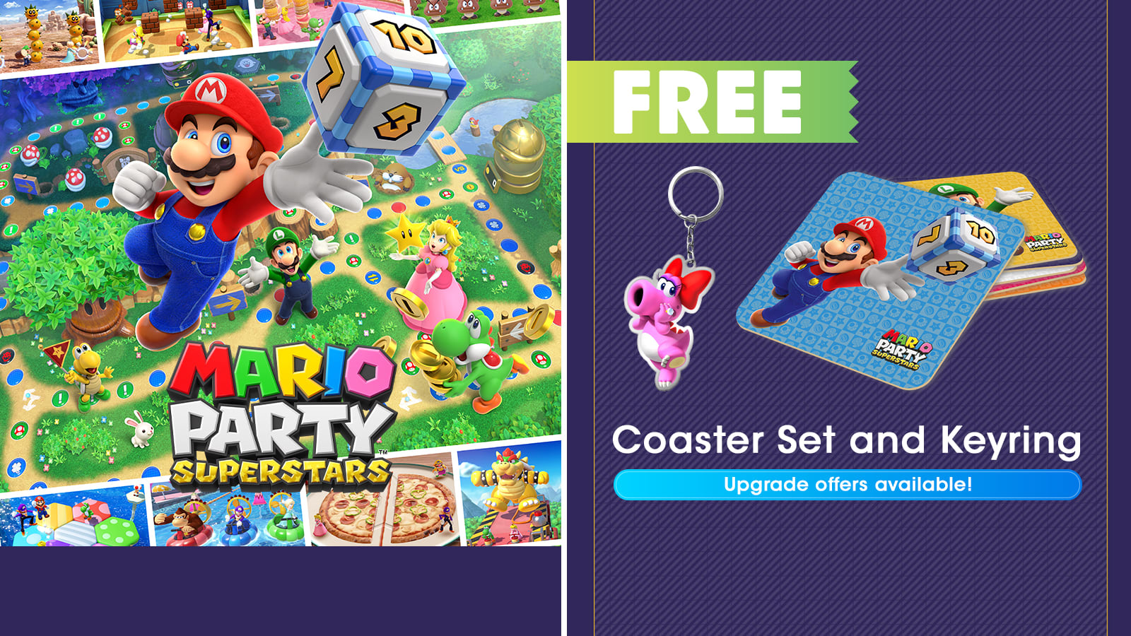 Mario Party Superstars free gift with purchase and upgrade offers available
